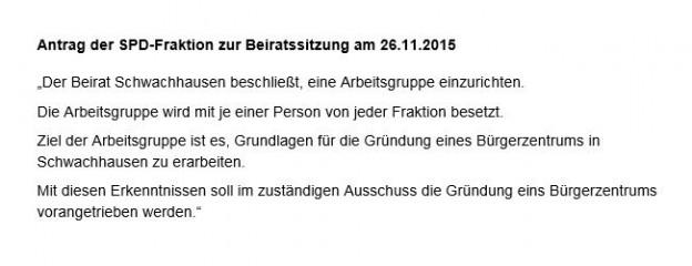 Antrag der SPD Beiratsfraktion Schwachhausen zur Beiratssitzung am 26. November 2015