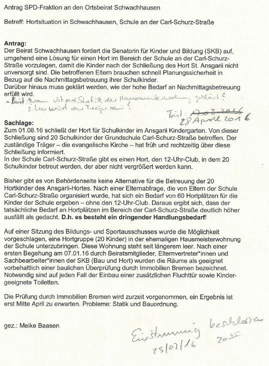 Beschlossener Antrag der SPD Beiratsfraktion Schwachhausen zur Hortsituation. Beschluss 250216