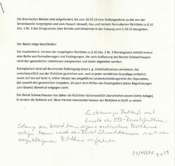 Beschluss Beirat Schwachhausen zum Entwurf der Verkehrsrichtlinie 250216